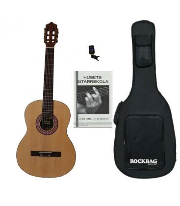 #8 Akustisk gitarr paket. HUSETS GITARR 3/4-STORLEK VÄNSTER NYBÖRJARPAKET