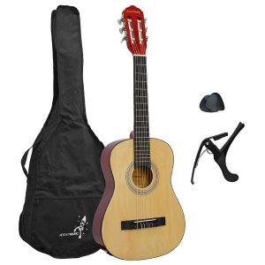 Akustisk gitarr för nybörjare i naturligt trä utseende - Rocket 1/4, ingår gör nylonsträngar, väska, capo och plektrum