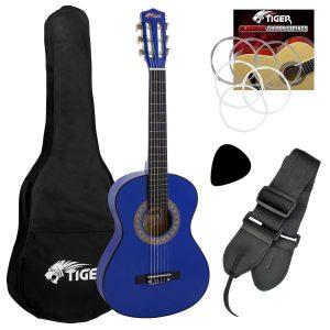 Blå Akustisk gitarr för nybörjare - Tiger 1/4 gitarrpaket